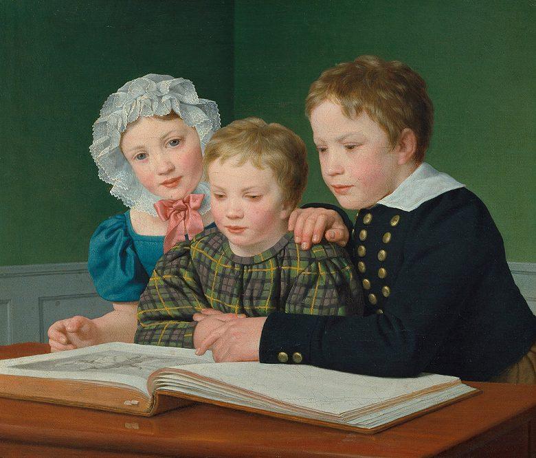 絵画 インテリア 額入り 壁掛け複製油絵クリストファー・ウィルヘルム・エッカースベルグ 子供たちの肖像 F20サイズ F20号 727x606mm 絵画 インテリア 額入り 壁掛け 油絵