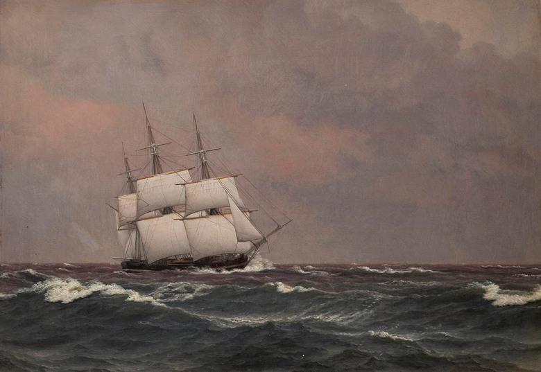 絵画 インテリア 額入り 壁掛け複製油絵クリストファー・ウィルヘルム・エッカースベルグ 荒れた海の中の帆走コルベット・ナヤデン P20サイズ P20号 727x530mm 絵画 インテリア 額入り 壁掛け 油絵