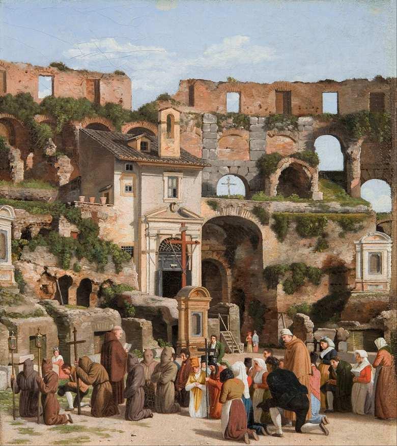油絵 油彩画 絵画 複製画 クリストファー・ウィルヘルム・エッカースベルグ コロッセオの内部の眺め F10サイズ F10号 530x455mm すぐに飾れる豪華額縁付きキャンバス