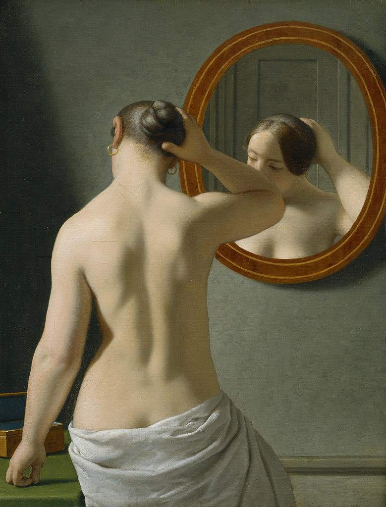 絵画 インテリア 額入り 壁掛け複製油絵クリストファー・ウィルヘルム・エッカースベルグ 鏡の前の女 F15サイズ F15号 652x530mm 油彩画 複製画 選べる額縁 選べるサイズ