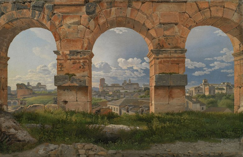絵画 インテリア 額入り 壁掛け複製油絵クリストファー・ウィルヘルム・エッカースベルグ コロッセオの三階の三つのアーチの眺め F20サイズ F20号 727x606mm 絵画 インテリア 額入り 壁掛け 油絵