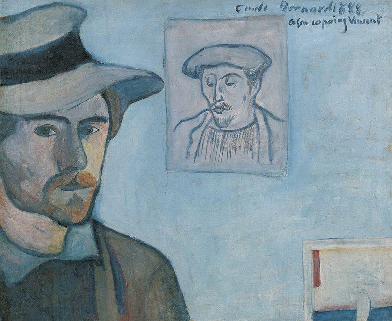 絵画 インテリア 額入り 壁掛け複製油絵エミール・ベルナール ゴーギャンの肖像画と自画像 F15サイズ F15号 652x530mm 油彩画 複製画 選べる額縁 選べるサイズ