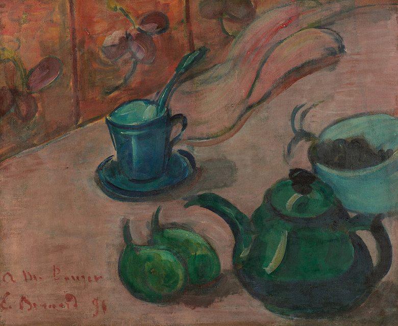 絵画 インテリア 額入り 壁掛け複製油絵エミール・ベルナール 急須とカップとフルーツのある静物 F15サイズ F15号 652x530mm 油彩画 複製画 選べる額縁 選べるサイズ