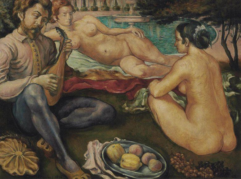 油絵 油彩画 絵画 複製画 エミール・ベルナール 宮廷恋愛 F10サイズ F10号 530x455mm すぐに飾れる豪華額縁付きキャンバス