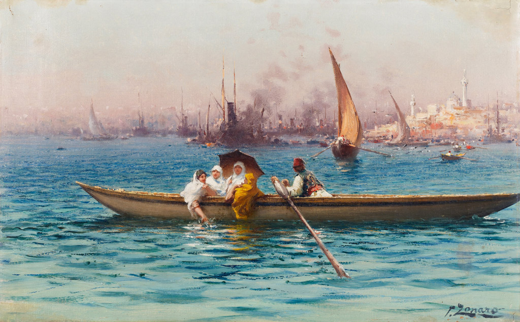 油絵 油彩画 絵画 複製画 ファウスト・ゾナロ 舟遊び F10サイズ F10号 530x455mm すぐに飾れる豪華額縁付きキャンバス