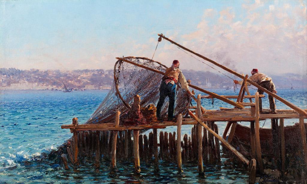 油絵 油彩画 絵画 複製画 ファウスト・ゾナロ 漁網を引き上げる漁師 F10サイズ F10号 530x455mm すぐに飾れる豪華額縁付きキャンバス