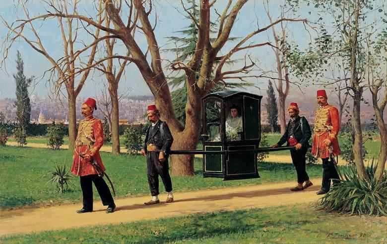 油絵 油彩画 絵画 複製画 ファウスト・ゾナロ 駕籠に乗る英国大使の娘 F10サイズ F10号 530x455mm すぐに飾れる豪華額縁付きキャンバス