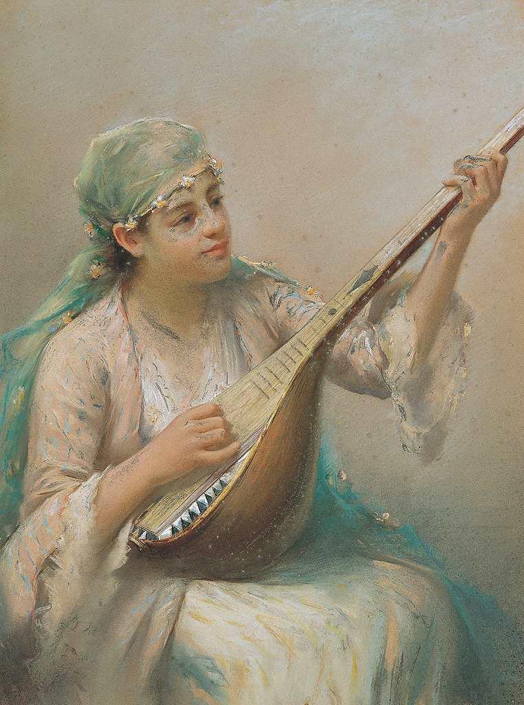 【送料無料】絵画 油彩画複製油絵複製画/ファウスト・ゾナロ 弦楽器を弾く女性 F8サイズ F8号 455x380mm すぐに飾れる豪華額縁付きキャンバス