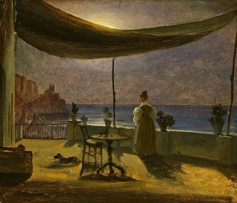 油絵 油彩画 絵画 複製画 トマス・ファーンリ 月明かりのアマルフィのテラス F10サイズ F10号 530x455mm すぐに飾れる豪華額縁付きキャンバス