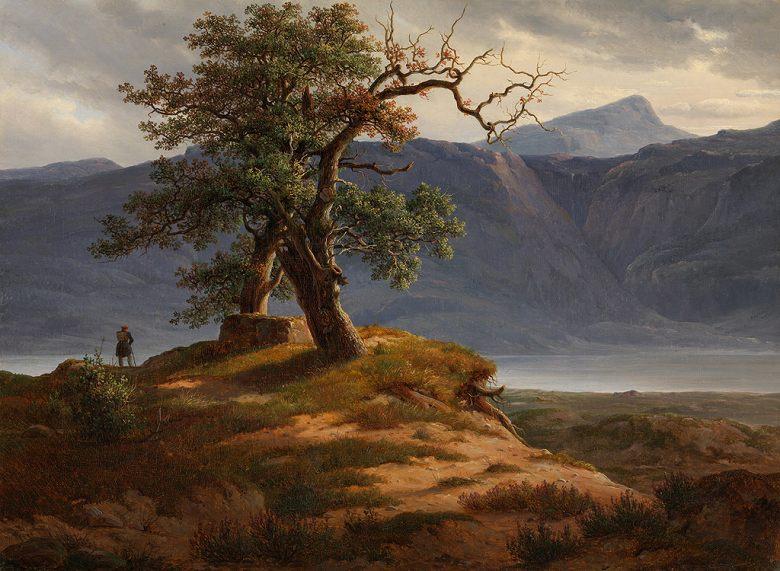 油絵 油彩画 絵画 複製画 トマス・ファーンリ 放浪者のいる風景 F10サイズ F10号 530x455mm すぐに飾れる豪華額縁付きキャンバス