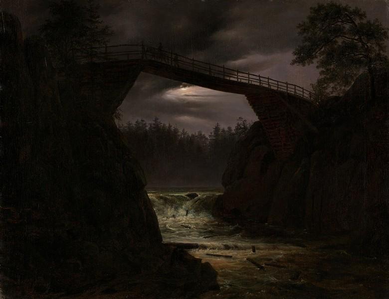 油絵 油彩画 絵画 複製画 トマス・ファーンリ ハウゲの橋 F10サイズ F10号 530x455mm すぐに飾れる豪華額縁付きキャンバス
