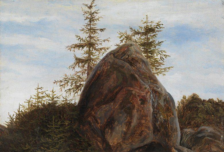 油絵 油彩画 絵画 複製画 トマス・ファーンリ 一枚岩と樹木 F10サイズ F10号 530x455mm すぐに飾れる豪華額縁付きキャンバス