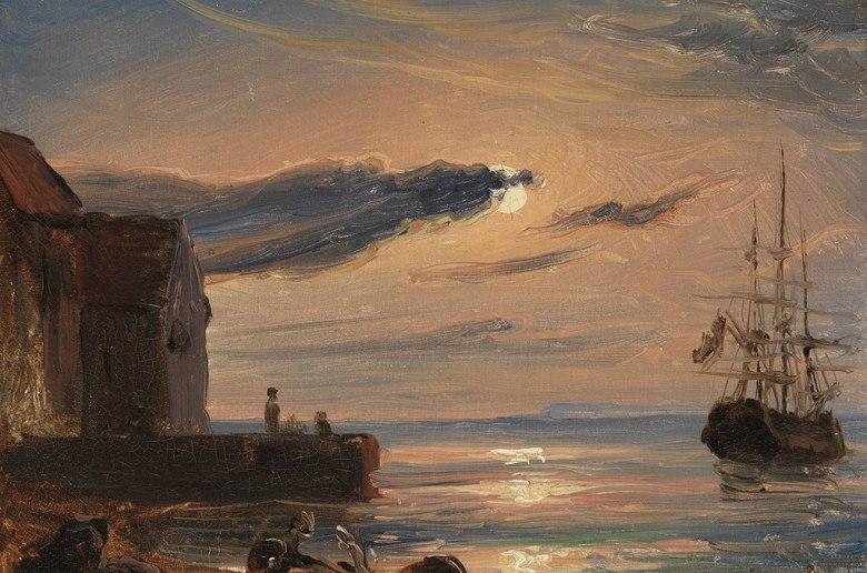 トマス・ファーンリ イタリア南部の月明かりに照らされた港 F30サイズ F30号 910x727mm 条件付き送料無料  額縁付絵画 インテリア 額入り 壁掛け複製油絵トマス・ファーンリ