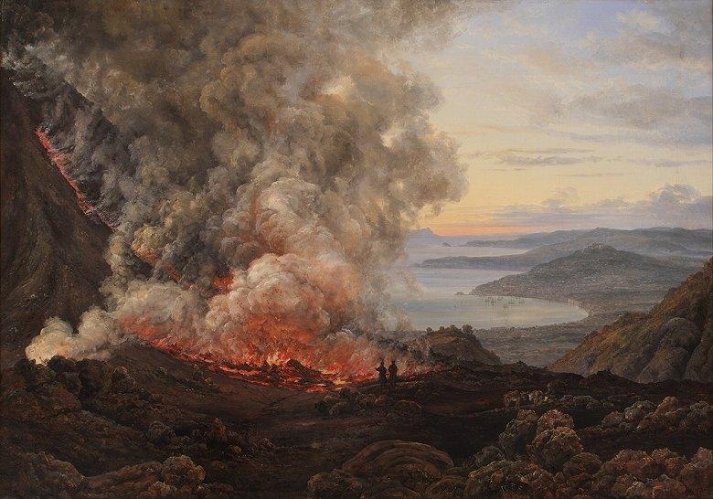 絵画 インテリア 額入り 壁掛け複製油絵 ヨハン・クリスチャン・ダール ベスビオ火山の噴火 F15サイズ F15号 652x530mm 油彩画 複製画 選べる額縁 選べるサイズ