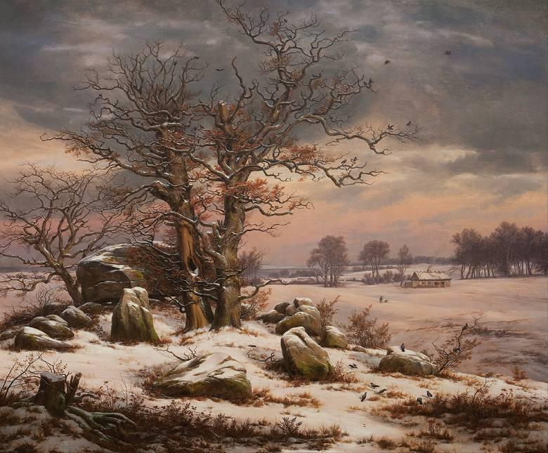 油絵 油彩画 絵画 複製画 ヨハン・クリスチャン・ダール デンマークボアディングボー近郊の冬の風景 F10サイズ F10号 530x455mm すぐに飾れる豪華額縁付きキャンバス