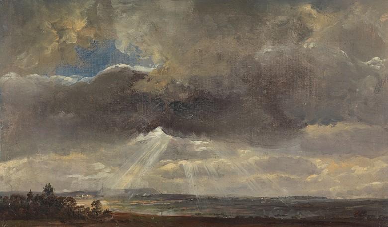 絵画 インテリア 額入り 壁掛け複製油絵 ヨハン・クリスチャン・ダール ドレスデン近郊のヴィントベルクでの雲と太陽光線 F15サイズ F15号 652x530mm 油彩画 複製画 選べる額縁 選べるサイズ