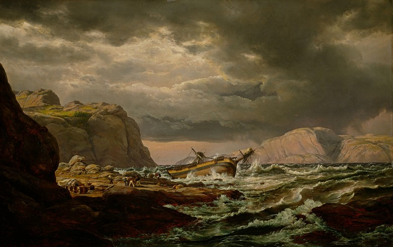 絵画 インテリア 額入り 壁掛け複製油絵 ヨハン・クリスチャン・ダール ノルウェー海岸の難破船 F15サイズ F15号 652x530mm 油彩画 複製画 選べる額縁 選べるサイズ