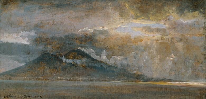 油絵 油彩画 絵画 複製画 ヨハン・クリスチャン・ダール ベスビオ火山とナポリ湾 F10サイズ F10号 530x455mm すぐに飾れる豪華額縁付きキャンバス