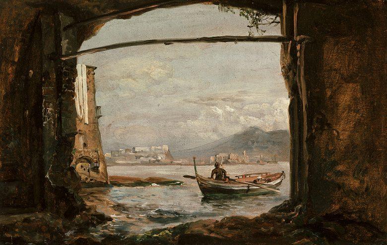 油絵 油彩画 絵画 複製画 ヨハン・クリスチャン・ダール ポジッリポ近郊のほら穴からの眺め F10サイズ F10号 530x455mm すぐに飾れる豪華額縁付きキャンバス