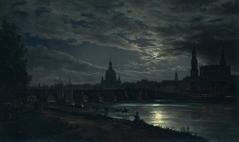 油絵 油彩画 絵画 複製画 ヨハン・クリスチャン・ダール 月明かりのドレスデンの眺め F10サイズ F10号 530x455mm すぐに飾れる豪華額縁付きキャンバス