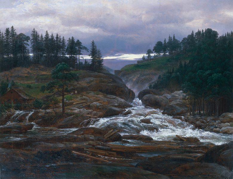 油絵 油彩画 絵画 複製画 ヨハン・クリスチャン・ダール 下滝 F10サイズ F10号 530x455mm すぐに飾れる豪華額縁付きキャンバス
