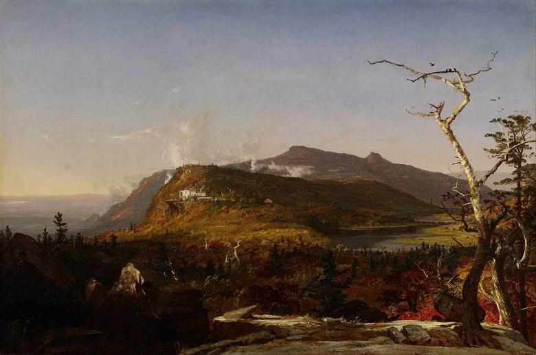 油絵 油彩画 絵画 複製画 ジャスパー・フランシス・クロプシー キャッツキル山の山の家 F10サイズ F10号 530x455mm すぐに飾れる豪華額縁付きキャンバス