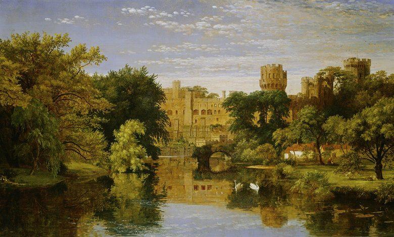 油絵 油彩画 絵画 複製画 ジャスパー・フランシス・クロプシー ウォリック城、イングランド F10サイズ F10号 530x455mm すぐに飾れる豪華額縁付きキャンバス