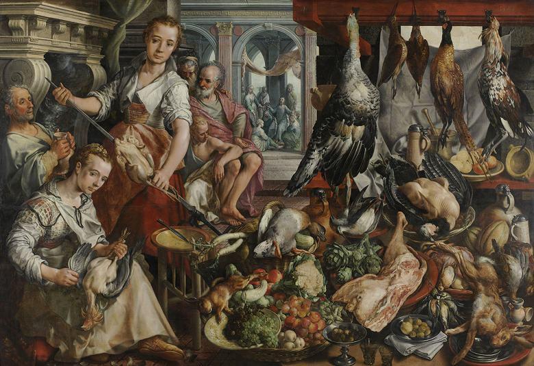 絵画 インテリア 額入り 壁掛け複製油絵ピーテル・アールツェン 食料豊富な厨房 F15サイズ F15号 652x530mm 油彩画 複製画 選べる額縁 選べるサイズ