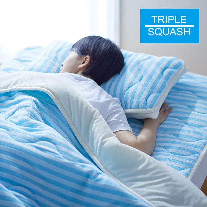 TRIPLE SQUASH 2 セール品 医療用脱脂綿を使った寝具トリプルスカッシュ2 ブルーボーダー 枕パッド 大注目