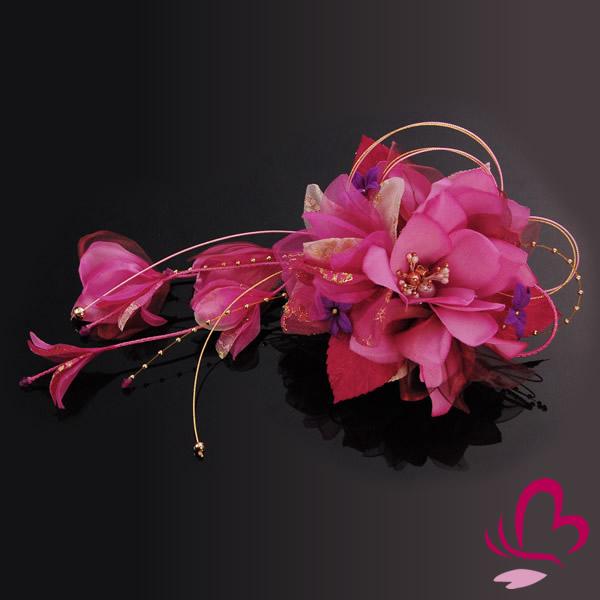 【髪飾り 成人式 振袖】 ワイン 赤紫 大きい 花かんざし 【卒業式の袴 和装の結婚式 七五三や浴衣、着物に】