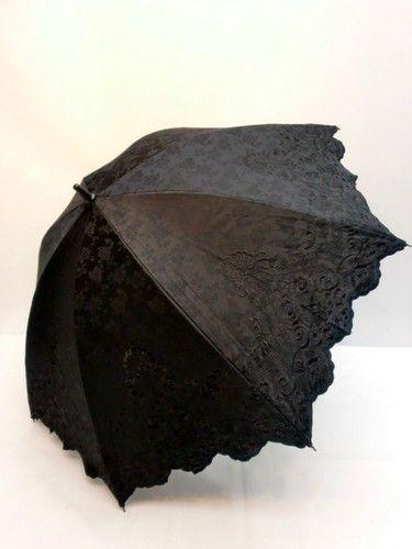 晴雨兼用・長傘-婦人 綿ジャガード刺繍2重張り晴雨兼用長傘