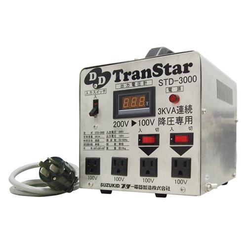 5/9-16 お買い物マラソン最大44倍/スズキット デジタルダウントランス STD-3000 200V→100V変圧 降圧機 4991945022898