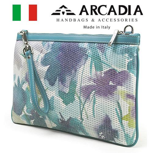 レディースバッグ イタリア製 牛革 3WAY クラッチショルダーバッグ ARCADIA アルカディア Art.319 TURCHESE ターコイズ