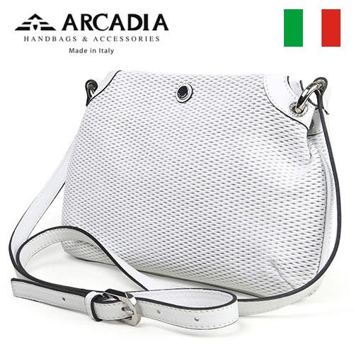 レディースバッグ イタリア製 牛革 ポシェット ARCADIA アルカディア Art.2568 BIANCO ホワイト