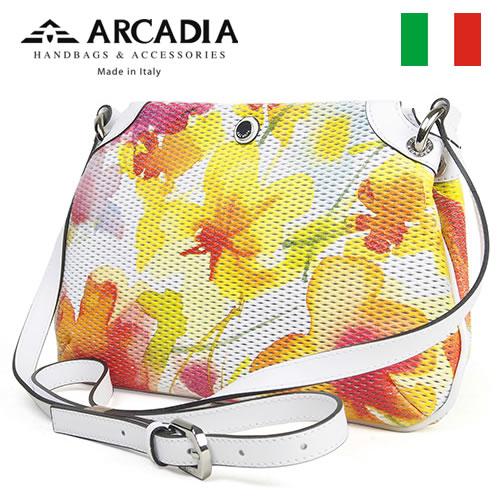 レディースバッグ イタリア製 牛革 ポシェット ARCADIA アルカディア Art.2568 GIALLO BIANCO イエローホワイト