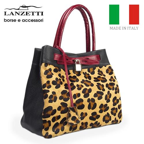 レディースバッグ イタリア製 牛革 ハラコ 2WAY 鍵付きハンドバッグ LANZETTI ランゼッティ Art.2124 レオパード