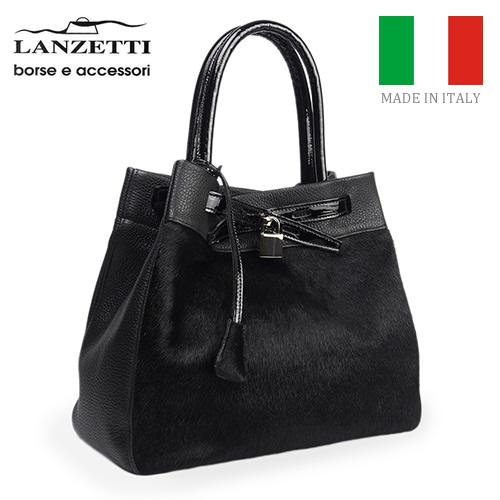 レディースバッグ イタリア製 牛革 ハラコ 2WAY 鍵付きハンドバッグ LANZETTI ランゼッティ Art.2124 ブラック