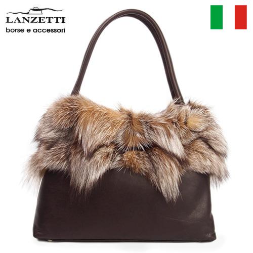 レディースバッグ イタリア製 牛革 ファー付きハンドバッグ LANZETTI ランゼッティ Art.3144 ブラウン