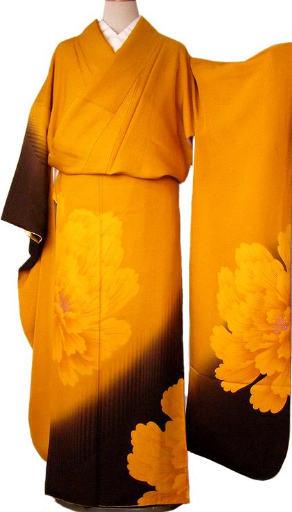 振袖 購入 販売 正絹 中古 仕立上り 既製品 黄色 リサイクル 絹生地 アウトレット 成人式 卒業式 すぐ使える 和服 和装 絹 女性着物 着物 仕立て上がり【送料無料】【クリーニング済み】