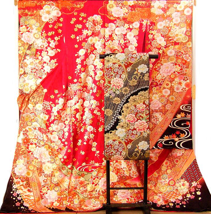 仮縫い 振袖 購入 正絹 総絞り 生地 教材 絹生地 【 未仕立て 着物 】