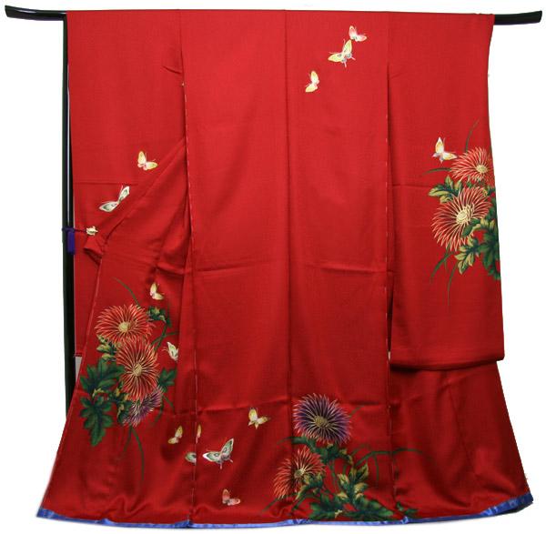 未仕立て正絹中振袖 赤地艶やかな洋花模様に蝶〔HZ14274〕