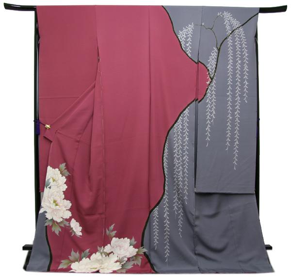 未仕立て正絹中振袖 ピンク紫・グレー染め分けに粋な牡丹模様〔HZ14388〕