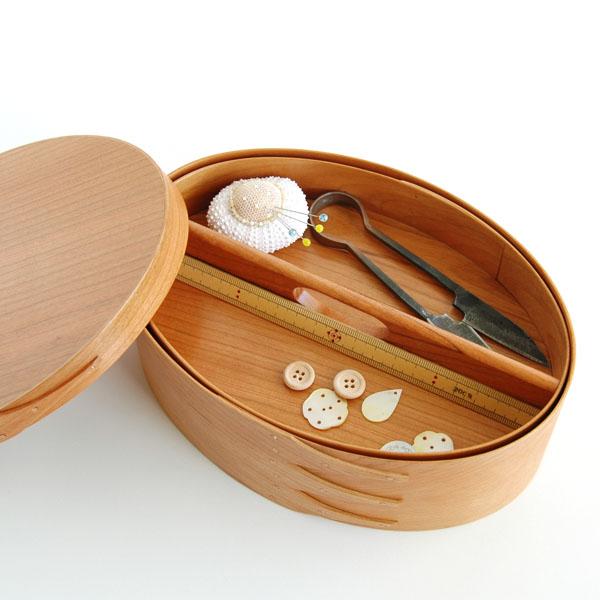 シェーカーボックス ソーイング(チェリー)裁縫箱 [BR006]【北欧 トレー トレイ 木製 無垢 桜 ふた付き スタッキング 裁縫箱 ソーイングボックス】
