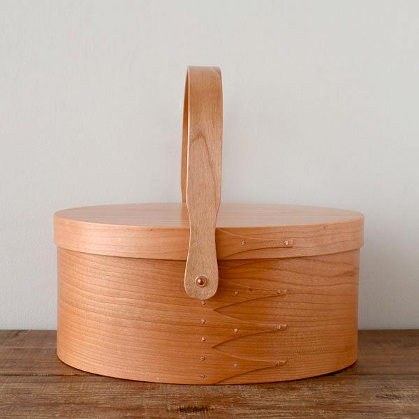 シェーカーボックス スイングハンドル (チェリー) #3 [BR003-3]【北欧 トレー トレイ 木製 無垢 桜 ふた付き スタッキング 裁縫箱 ソーイングボックス】