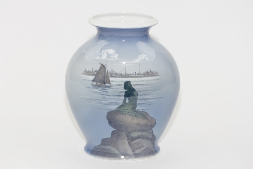 ■ROYAL COPENHAGEN ロイヤル・コペンハーゲン 人魚の花瓶 Langelinie フラワーベース 花瓶 オブジェ■中古 #13015T