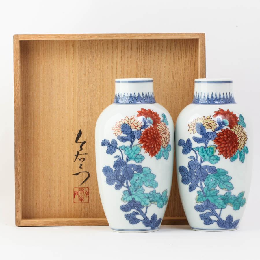 人間国宝 十三代 今泉今右衛門造 有田焼 錦菊絵花瓶 2個セット #27350T