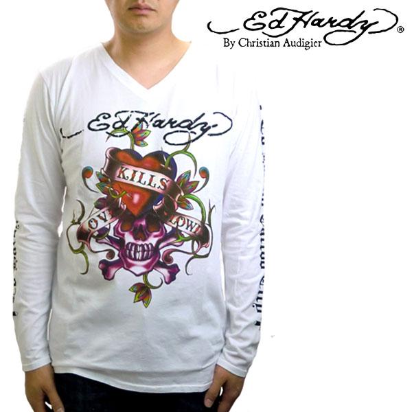 エドハーディー ロンt メンズ エド・ハーディー 長袖Tシャツ Ed Hardy ロングTシャツ リアルラブキル スカル ホワイト M03GTC300 エド・ハーディー edhardy タトゥー メンズ men's T-shirts