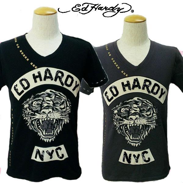 エドハーディー Tシャツ メンズ Ed Hardy Tiger タイガー スパンコール ビンテージ加工 スタッズ M02VTG091 エド・ハーディー edhardy タトゥー ダメージ加工
