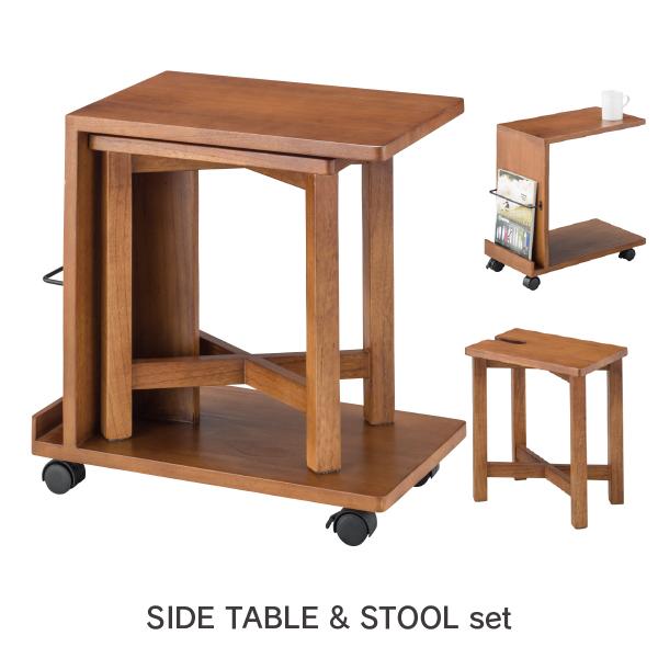 サイドテーブル&スツール GT-662 サイドテーブル スツール シンプル ナチュラル キャスター付き 天然木 ナイトテーブル カフェ風 ソファーテーブル ベッドサイドテーブル 木製 スツール イス セット 木製スツール スクエア型 飾り棚 収納 ラック