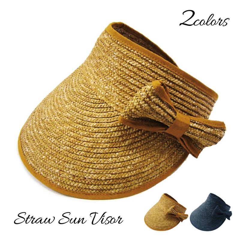 帽子 レディース 大きめサイズ 国内在庫 麦わら 春夏 UVカット 紫外線対策 日よけ 通気性 サイズ調整可能 ギフト 広つば 送料無料 おしゃれ CT01 母の日 オシャレで機能的 リボン 2021 リボン付麦バイザー☆帽子